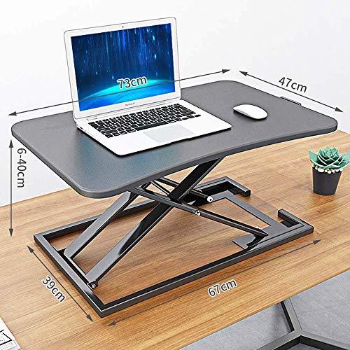 STZYY Height Adjustable Standing Desk Frame,Laptop desk,Standing computer lifting table, laptop monitor increased rack, standing desk top folding workbench-black