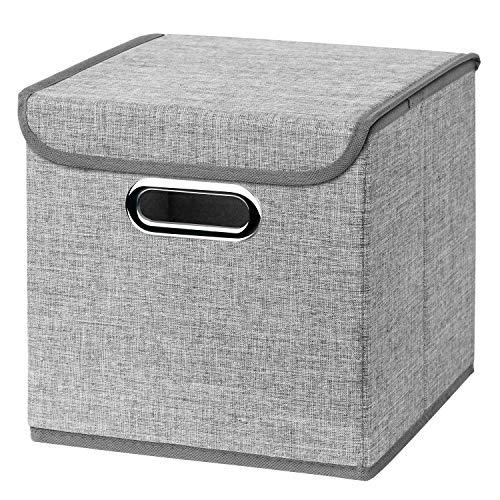 CM3 1 Stück Hellgrau Faltbox 25 x 25 x 25 cm Aufbewahrungsbox faltbar, mit Deckel