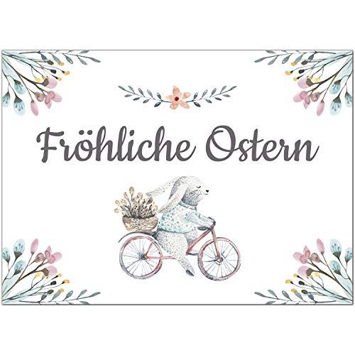 15 x Postkarten zu Ostern mit Umschlägen im Set/Osterkarten modern Hase Aquarell/Osterpostkarten