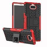 LAGUI Geeignet für Sony Xperia 10 Plus Hülle, Dual Layer Outdoor Schutzhülle Mit Ständer. rot