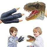 HOYUFEI T-Rex Dinosaur Hand-Puppet-Toys Animal-Puppets - (Brown T-Rex and Claw) Soft Rubber Realistic Tyrannosaurus Rex for Unisex Children Boys Girls