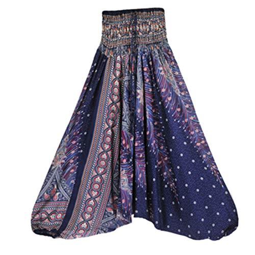 GYUANLAI Las Mujeres Sueltan Yoga 2 en 1 Pantalones Harlan Mono Yoga Pantalones Yoga Ropa Pantalones Grandes Pantalones Mono Danza del Vientre Pantalones de Colores Azul púrpura
