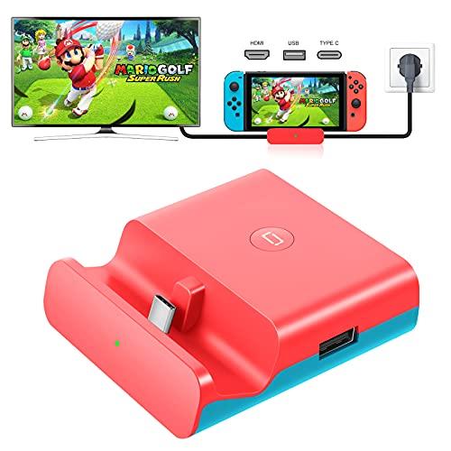 YOMADFUN Switch Dock Set Base de Carga Portatil, HDMI 1080P TV Adaptador para Nintendo Switch/Switch Lite, PD Carga USB Hub Adaptador HDMI 4K, Puerto USB 3.0 - Rojo