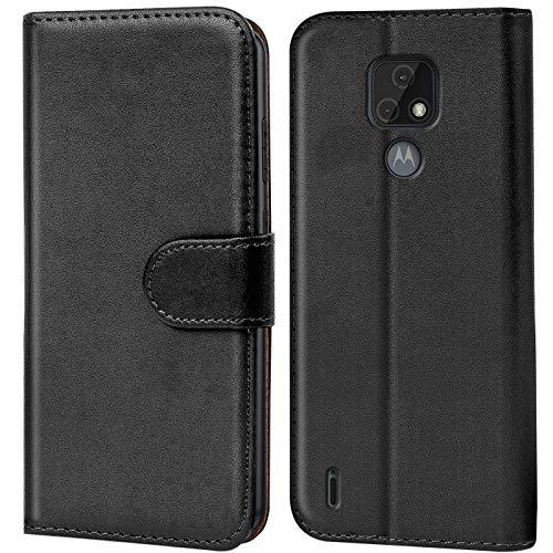Verco Motorola Moto E7 Hülle, Handyhülle für Motorola E7 Tasche PU Leder Flip Hülle Brieftasche, Schwarz