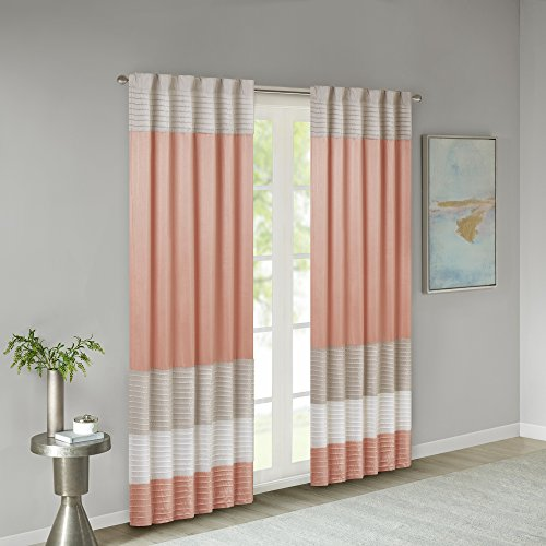 Madison Park Amherst Single Panel Faux Silk Rod Pocket Curtain With Privacy Lining for Living Room, Window Drapes for Bedroom and Dorm, 50x84, Coral