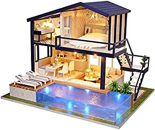 CGY DIY Miniature Dollhouse Kit Apartment DIY Dollhouse Kit With Wooden Furniture Light Gift House Toy