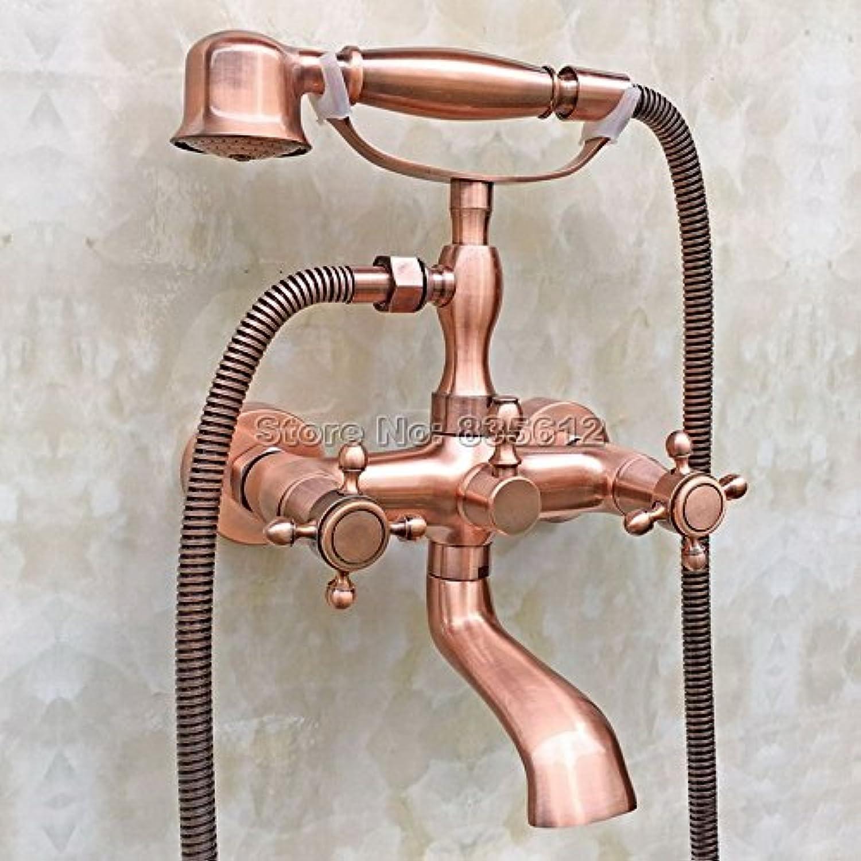 Retro Deluxe Faucetinging antiken Rot Kupfer Handheld Duschkopf Badewanne Mischbatterie an der Wand montierte Badezimmer Dual Kreuzgriffe Wasserhahn Wtf 803, Rot