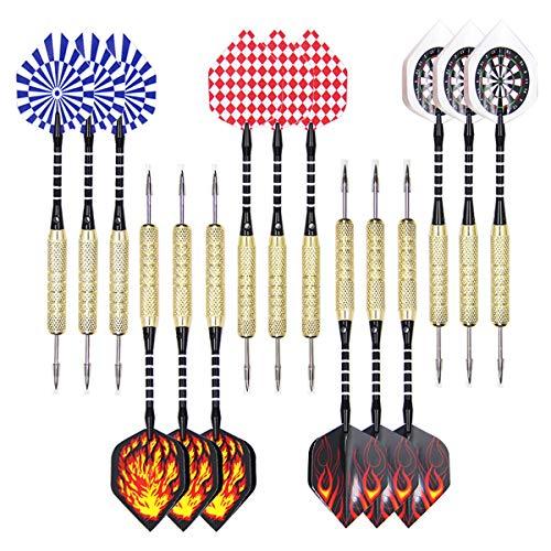 BetterJonny Set di 15 freccette, 18 g, in acciaio professionale, punta in ferro, con albero PC e 5 tipi di voli