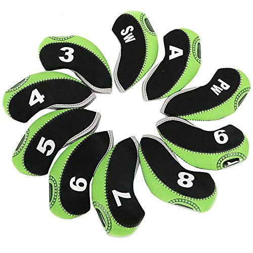 wosofe Golf Iron Covers Set for Club Mens Elasticity Protable Selections 10pcs/lot (Green)