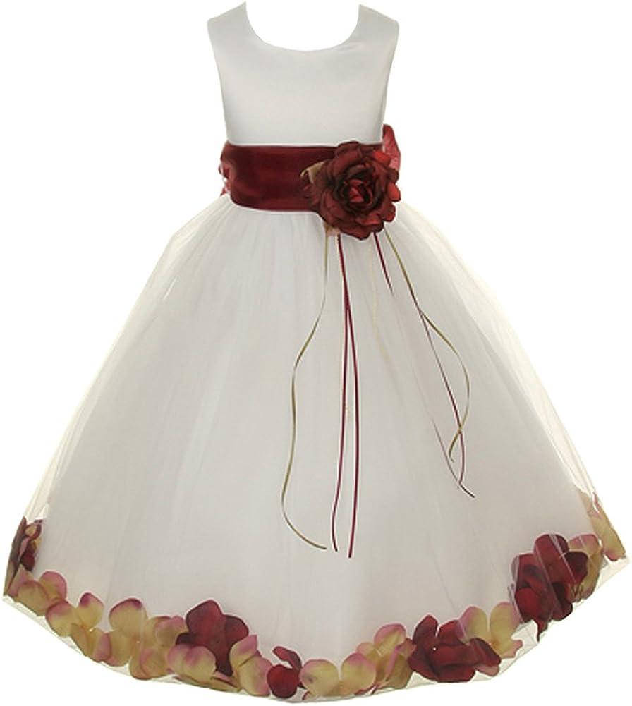 Amazon.com Kids Dream Ivory Burgundy Petal Flower Girl Dress ...