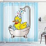 ABAKUHAUS Ente Duschvorhang, Karikatur-Maskottchen in der Badewanne, Wasser Blickdicht inkl.12 Ringe Langhaltig Bakterie & Schimmel Resistent, 175 x 180 cm, Aqua Gelb