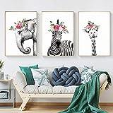 Tríptico Cuadros Lienzo De Arte 3 Piezas Jirafa Elefante Cebra Flores Personalidad Pintura Al Óleo...