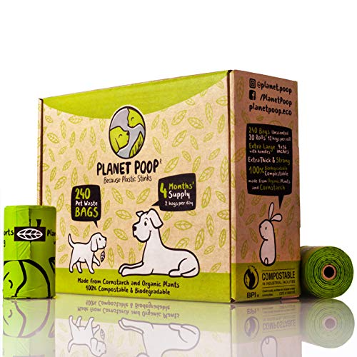 Compostable Dog Poop Bags, Plant-Based Poop Bags for Dogs, Unscented Extra-Long with Handles 9 x 16...