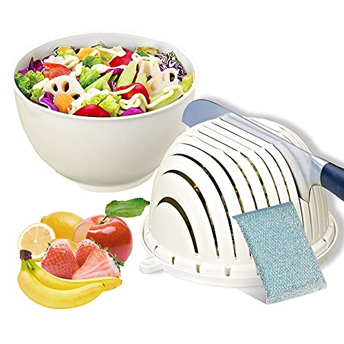 Salad Cutter Bowl with Lid, ANZUSY Salad Chopper Bowl, Fast Vegetable Cut Set, Multifunctional Fruit Salad Maker, Fresh Salad Slicer for Kitchen