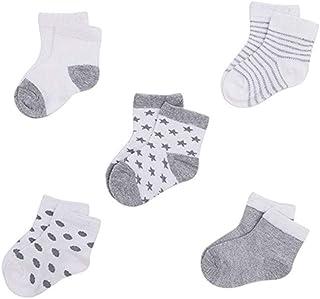 Yisily, 5 Pares De Calcetines Recién Nacido Unisex De Algodón Orgánico Calcetines Suaves Respirables Calcetines De Piso para Bebés Y Niños Pequeños 0-12months