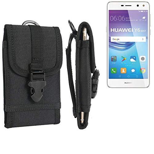 K-S-Trade Handyhülle Für Huawei Y6 2017 Dual SIM Gürteltasche Holster Handytasche Gürtel Tasche Schutzhülle Robuste Handy Schutz Hülle Tasche Outdoor Schwarz