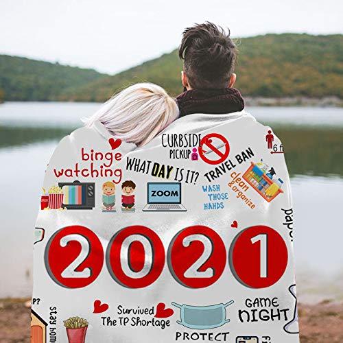HHKX100822 2020 Decke QuarantäNe Decke, 3D-Gedruckte Gedenk Kissen Stuhl Sofa Bett Camping Reisen Warm Bequem Sofa Wohnzimmer Gedruckte,2020/2021 GroßE Decken Bequem 2021
