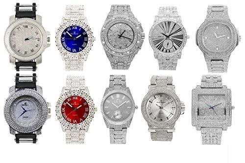 Bling King SS11NR ラッパーコレクション ヒップアイスアウト シルバー メンズ 腕時計 キューバンブレスレット マネーバッグペンダント テニスネックレス シャンバラビーズブレスレット リング付き 10個セット