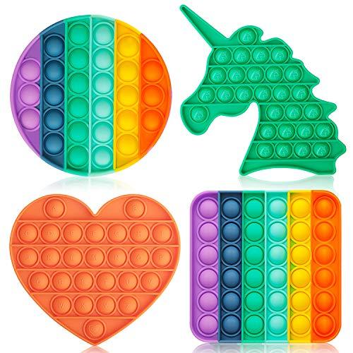 DALOJOE Push Pop Pop Bubble Fidget Sensory Toy, Pop Fidget Toys, 4 Pack Silicone Squeeze Sensory...