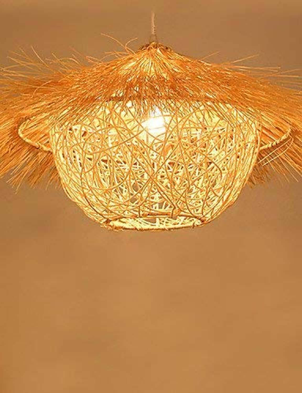 JZMB  50  30CM Moderne lndliche Cany Kunst gesponnenes Rattan-Restaurant-einzelne Haupt Droplight Lampe LED, 220-240v-Holz