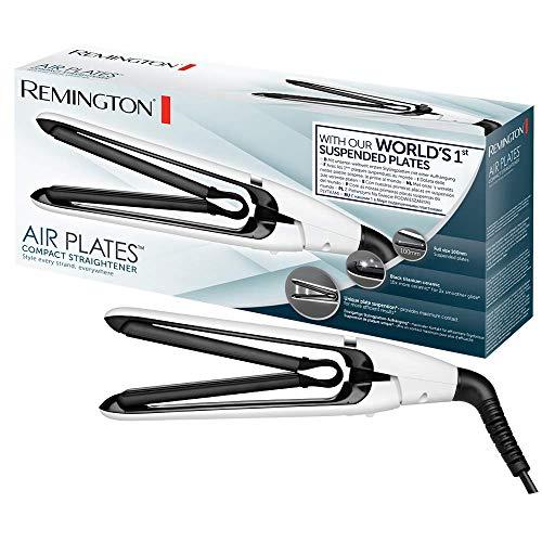 Remington Air Plates S2412 Plancha de Pelo Compacta, Cerámica Negra, Titanio, Suspensión de Placas Exclusiva, Color Blanco