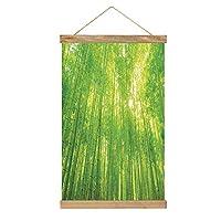 のれん棒 ポスター 竹 熱帯雨林の日光と竹の木の画像エキゾチックな野生動物植物自然禅装飾的 素朴な壁アート/写真/印刷/キャンバス/ポスターハンガーフレームキット 緑
