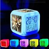 Reloj despertador con 7 LED que cambian de color para dormitorio con visualización de datos y temperatura (color intercambiable), personalizable 227. Flor de árbol de limón en Vietnam
