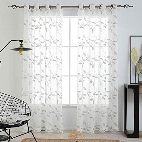 LinTimes graue Vorhänge, floral bestickte Vorhänge mit durchsichtigen Fenstern aus Strukturiertem Leinenimitat mit Fester Öse & Voile-Gardinenn für das Wohnzimmer, 2 Paneele, 52 x 63 inch Drop