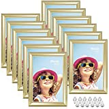 Anozie 4X6 Picture Frames(12 Pack,Gold) Simple Line Moulding Photo Frame Set with HD Real Glass for Tabletop or Wall Mount Display, Minimalist Collection (Gold, 4X6)