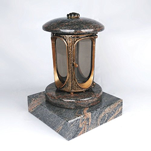 designgrab Grablampe mit Granit Sockel 20x20x5 cm, aus messingfarbenem Aluminium in Antikoptik und Granit Gneis Halmstad/Barap/Hollandia