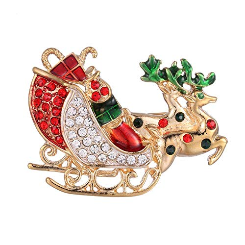 Demiawaking Womens Reindeer Sleigh Brooch Crystal Rhinestone Brooches Pins Diamante Corsage Wedding Bouquet Decor