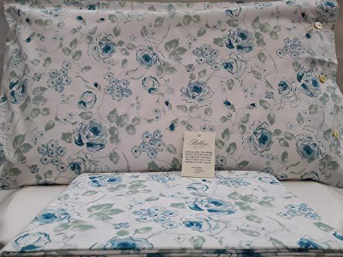 Bellora Bettwäsche-Set für Doppelbett, Perkal, Reine Baumwolle, 1 Sack 255x200 + 2 Kissenbezüge 50x80 Fiori Blu