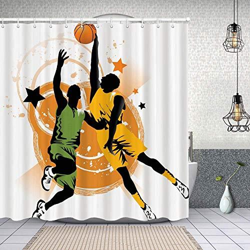 Cortina Baño,Imagen de 2 jugadores de baloncesto en un juego calentado con estrellas en el fondo,Cortina de Ducha Tela de Poliéster Resistente Al Agua Cortinas de Ducha Baño con 12 Ganchos,180x180cm