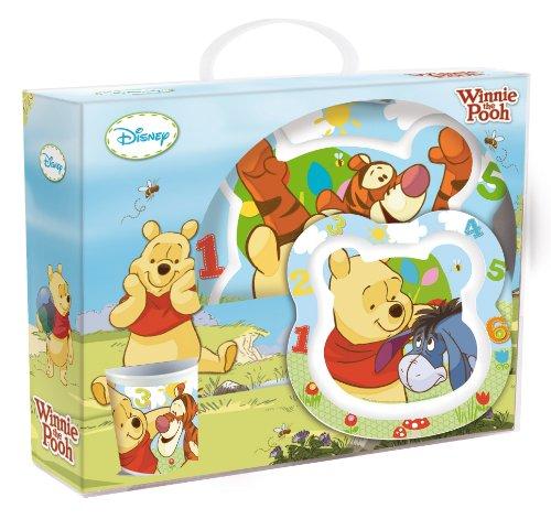 Joy Toy 736195 - Disney Winnie the Pooh - Juego de 3 piezas de melamina: 1 plato llano 20 cm, 1 plato hondo 14 cm y una taza 9 cm (245 ml) en paquete regalo (27 x 10 x 25 cm)