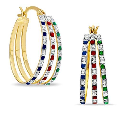 Ani's Pendientes de aro triples de zafiro azul, granate, esmeralda y piedra sim transparente, chapados en oro amarillo de 18 quilates con 925