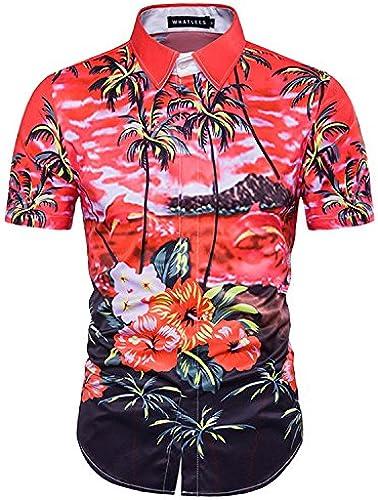 MAYUAN520 Chemises Nouveau 3D Design Imprimé Palmiers Shirt mode Chemises Hommes Slim Manches Courtes T-Shirt décontracté Plage M-3XL Chemise Homme, Rouge, Taille 3XL Asiatiques