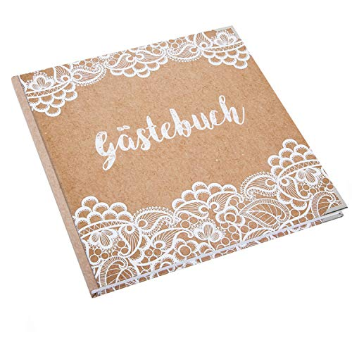 Logbuch-Verlag Hochzeitsgästebuch Kraftpapier-Optik mit weißer Spitze 21 x 21 cm - Gästebuch leer...