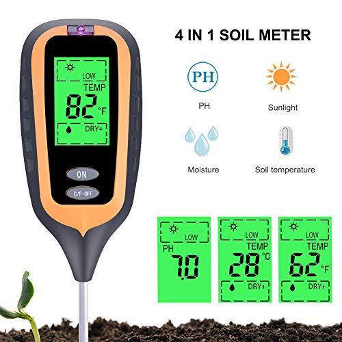 ZHANGXJ Probadores de la Tierra 4 del Suelo en 1 Digital Medidor de Humedad PH Metro de la Temperatura Sunlight Tester para Plant Lawn Jardín con LCD Displayer