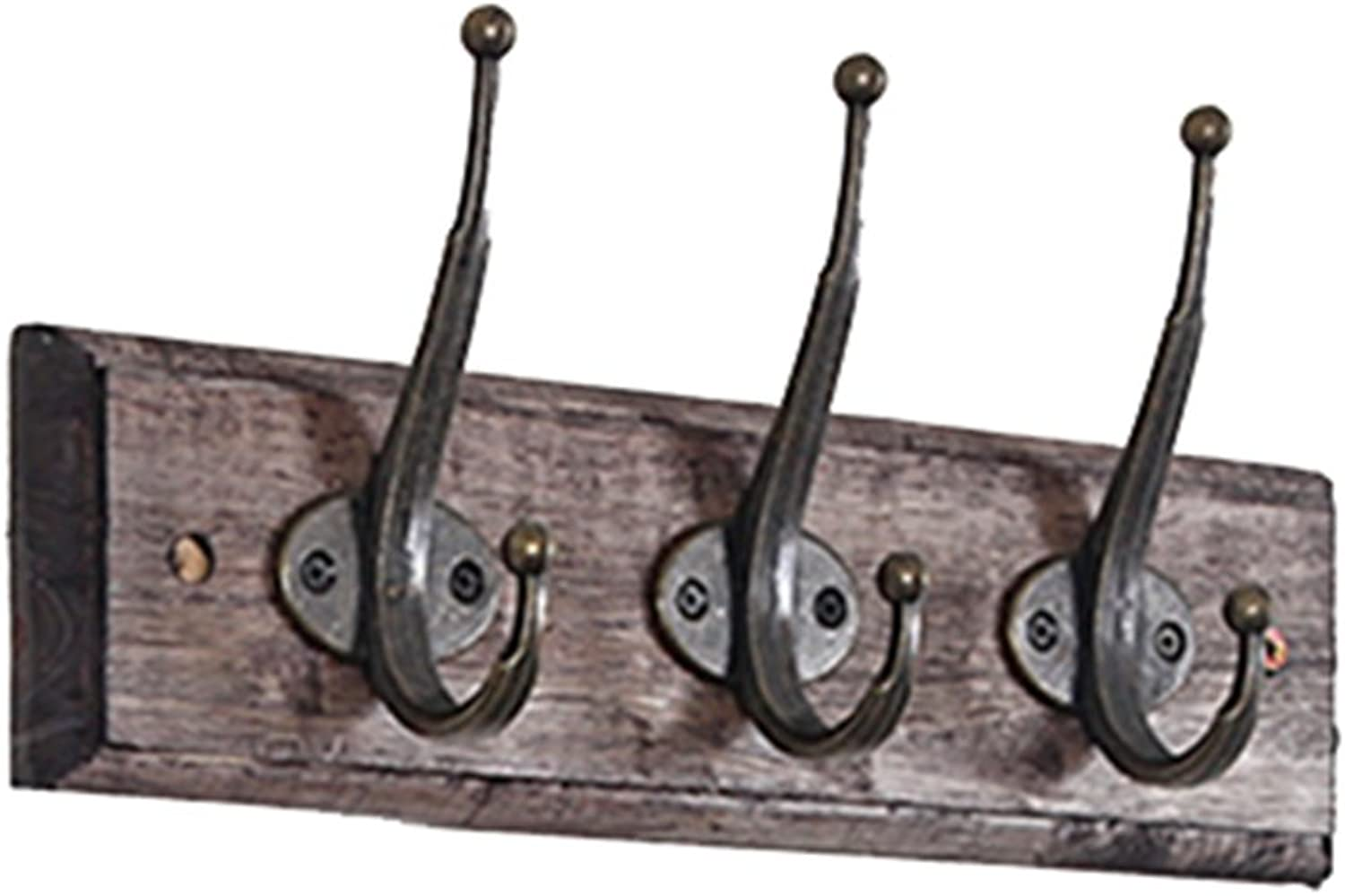Wall-Mounted Coat Rack Wood Hooks Hanging Clothes Retro Style, 3 Sizes Clothes Hook (Size   3 Hooks)