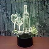 lxc Lámparas de Mesa Botella de Vino LED Colorido Degradado 3D Lámpara de Mesa...