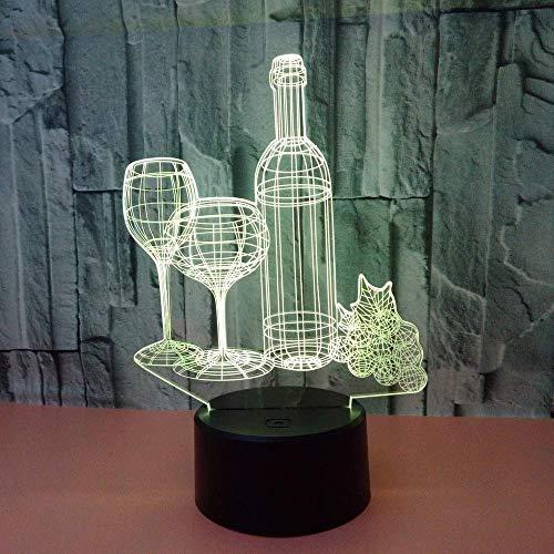 Zzyff Lámparas de Mesa Botella de Vino LED Colorido Degradado 3D Lámpara de Mesa estéreo Control Remoto táctil USB Luz de Noche Escritorio Mesita de Noche Decoración Creativa Adornos de Regalo