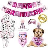 Xnuoyo Decoraciones de Cumpleaños para Perros, Perro Cumpleaños Bandana Sombrero Banner Set, con Globos, Bufanda de Cumpleaños de Perro, Sombrero de Cumpleaños de Perro, Adorno de Torta (Rosa)