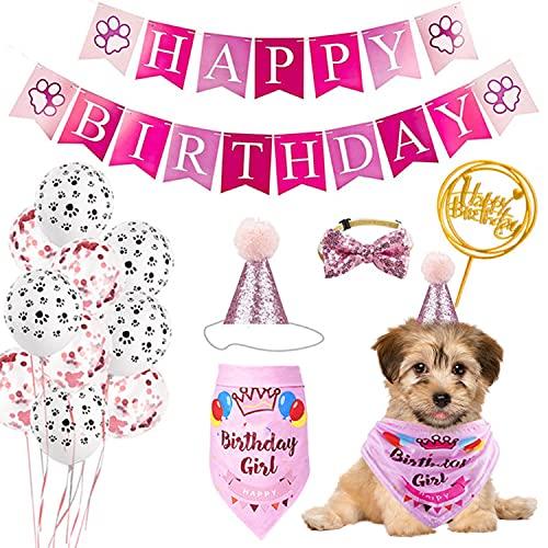 Xnuoyo Hund Geburtstag Bandana Hut Banner Set, Hunde-Geburtstagsparty-Zubehör Mit Luftballons, Hundegeburtstagsschal, Hundegeburtstagshut, Krawatte, Tortenaufleger (Rosa)