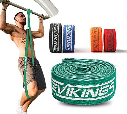 ActiveVikings Bandas de fitness de tela – perfectas para la construcción muscular y Crossfit Freeletics Calistenics – Bandas de resistencia (C – Verde (Medio)