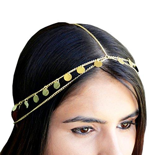 LEGITTA Damen Schmuck Gold Haarschmuck Paillette Hochzeit Schmuck Haarband Haarkette Lang Kette für Frauen Mädchen-EA0075