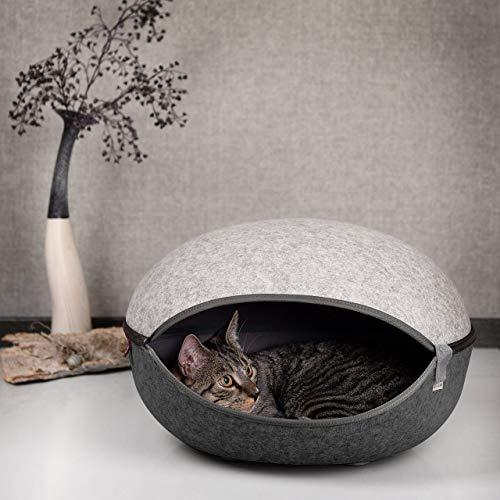 CanadianCat Company ® | Katzenest, Katzenhöhle in Zwei Grautönen - das Katzenbett mit Stil