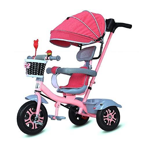 GYF Triciclo Bicicletta Cintura Triciclo Bambini con 4 con 1 Tenda 1-6 Anni i Bambini autoveicoli Titanio Ruota di Bicicletta Vuoto for Bambini (Sedile Rotante) (Color : Pink)