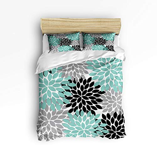 3 Piece Polyester Fabric Bedding Set with Zipper Closure Queen Size, Simple Flower Dahlia Black Grey Green Comforter Cover Set Duvet Cover with 2 Pillow Shams for Girls/Boys/Kids/Children/Teen/Adults
