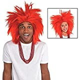 Amscan Faux Crazy Costume Unisex Wig, One size, Red