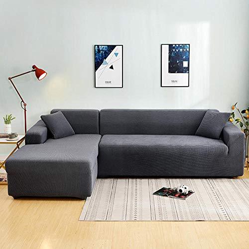 Fsogasilttlv Funda Sofa Elastica Protector,Funda de sofá elástica sólida y Gruesa, Esquina de poliéster,Funda Protectora para Silla Gris, 1, 2 plazas, 145-185 cm y 4 plazas, 235-300cm 2PCS